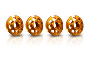 Xray Aluminum Shock Spring Retaining Collar Set (Orange) (4)