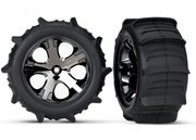 "Traxxas Tires & Wheels Paddel/ All-Star Black Chrome 2.8"" TSM (2)"