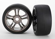 Traxxas Tires & Wheels Slicks S1/S-Spoke Black Chrome Rear (2) XO-1