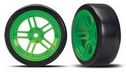 "Traxxas Tires & Wheels Drift 1.9"" On Green Split-spoke Front (2)"
