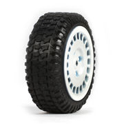 Team Losi Tires, Mounted, White (4): Micro Rally