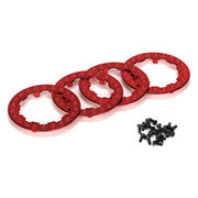 Team Losi Beadlock Ring Set w/Screws (Red) (4)
