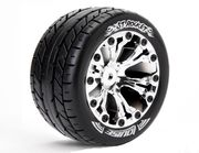 Louise 1:10 ST-Rocket 2.8 inch Truck Tire Mounted on Chrome Rim - Bearing - Soft (2)