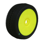ProCircuit Square Impact Green Tire Pre-Mounted On Yellow Wheel - Soft (2)