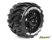 Louise 1:8 3.8 Inch Monster Tire MT-Cyclone Mounted On Black Wheel - 0 Offset - Sport (2)