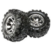 Traxxas 5673 - Geode Chrome Wheels & Canyon AT Tires, Assembled