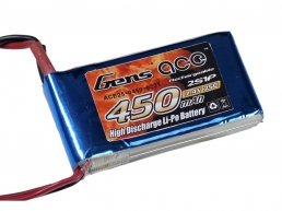 Gens ace 450mAh 7.4V 25C 2S1P Lipo Battery Pack