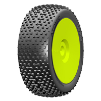 GRP 1:8 BU - ATOMIC - A Soft - New Closed Cell Insert - Mounted on New Closed Yellow Wheel