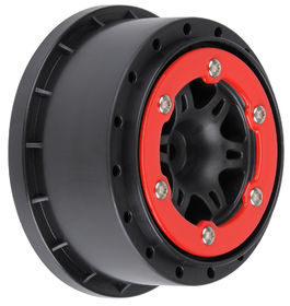 "Pro-Line Split Six 2.2""/3.0"" Red/Black Bead-Loc Wheels (2)"
