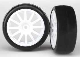 LaTrax Rally 1/18 Tires & Wheels White (Slicks) (2)