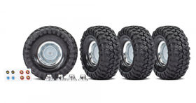 "Traxxas Tire & Wheel Canyon Tr./Chro. 1.9""+Center Caps (for TRX8255A)"