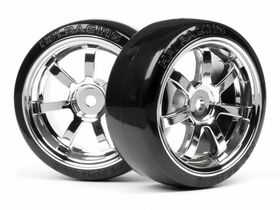 HPI Racing - T-Drift Tire preglued on RAYS 57S-Pro Chrome Wheel - 26mm - 0-offset  - (2)