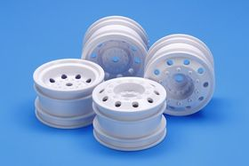 Tamiya On Road Racing Truck Wheels (White) (F/R 2pcs Each)