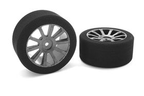 Team Corally Attack foam tires 1/10 GP touring 35 shore 30mm Rear Carbon rims (2)