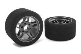 Team Corally Attack foam tires 1/8 Circuit 35 shore Front Carbon rims (2)