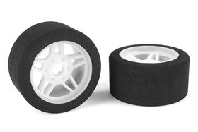 Team Corally Attack foam tires 1/8 Circuit 32 shore Front Light rims (2)