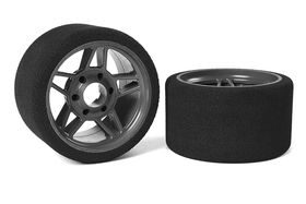 Team Corally Attack foam tires 1/8 SSX-8 35 shore Front 65mm Carbon Flex Rims (2)