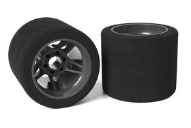 Team Corally Attack foam tires 1/8 SSX-8 32 shore Rear 72mm Carbon Flex Rims (2)