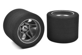 Team Corally Attack foam tires 1/8 Circuit 32 shore Rear 76mm Carbon rims (2)
