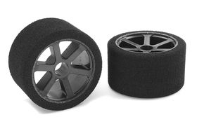 Team Corally Attack foam tires 1/12 Circuit 30 shore Pink Front Carbon rims (2)