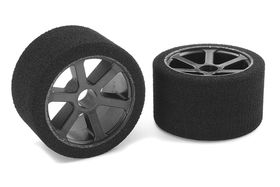 Team Corally Attack foam tires 1/12 Circuit 32 shore Magenta Front Carbon rims (2)