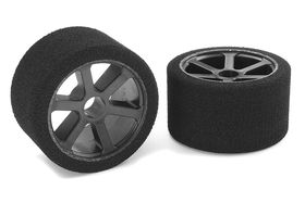Team Corally Attack foam tires 1/12 Circuit 35 shore Double Pink Front Carbon rims (2)