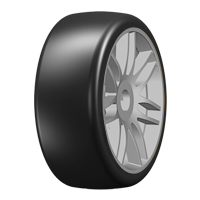GRP 1:8 GT - T02 SLICK - S4 SoftMedium - Mounted on New Spoked Silver Wheel - 1 Pair