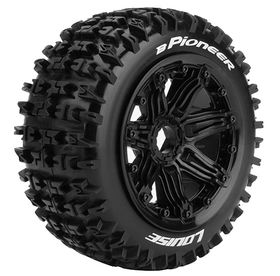 Louise RC - B-Pioneer 1/5 Buggy Tire on Black Bead-Lock Wheel - Sport - Front - 24mm hex - (2)