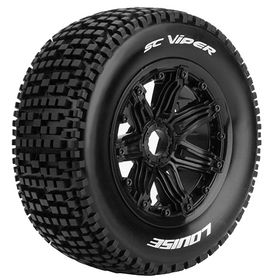 Louise RC - SC-Viper 1/5 Buggy Tire on Black Bead-Lock Wheel - Sport - Rear - 24mm hex - (2)