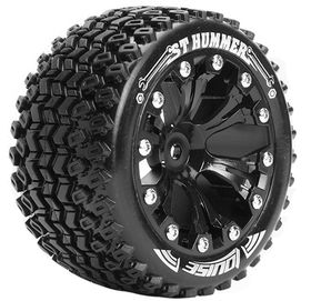 Louise 1:10 ST-Hummer 2.8 inch Truck Tire Mounted on Black Rim - ARRMA Offset - Soft (2)