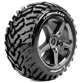 Louise RC - T-Apollo 1/8 Truggy Tire - Mounted - Soft - Black-Chrome Spoke Wheels - Hex 17