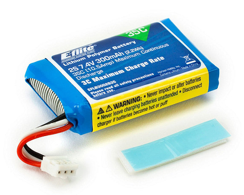 E-Flite 300mAh 2S 7.4V 35C LiPo Battery For 130X
