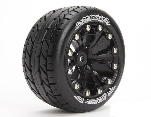 Louise 1:10 ST-Rocket 2.8 inch Truck Tire Mounted on Black Rim - 0 Offset  (2)