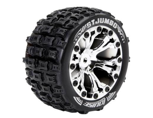 Louise 1:10 ST-Jumbo 2.8 inch Truck Tire Mounted on Chrome Rim - 1:2 Offset - Soft (2)